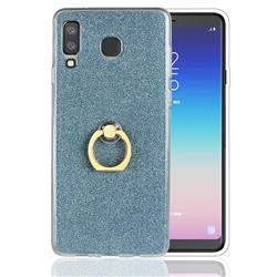 Luxury Soft TPU Glitter Back Ring Cover with 360 Rotate Finger Holder Buckle for Samsung Galaxy A8 Star (A9 Star) - Blue