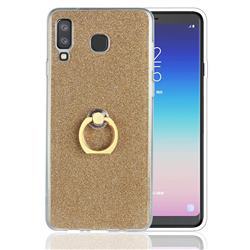 Luxury Soft TPU Glitter Back Ring Cover with 360 Rotate Finger Holder Buckle for Samsung Galaxy A8 Star (A9 Star) - Golden