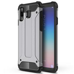 King Kong Armor Premium Shockproof Dual Layer Rugged Hard Cover for Samsung Galaxy A8 Star (A9 Star) - Silver Grey