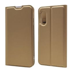 Ultra Slim Card Magnetic Automatic Suction Leather Wallet Case for Sharp AQUOS sense3 Lite SH-RM12 - Champagne
