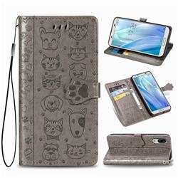 Embossing Dog Paw Kitten and Puppy Leather Wallet Case for Sharp AQUOS sense3 Lite SH-RM12 - Gray