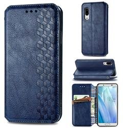 Ultra Slim Fashion Business Card Magnetic Automatic Suction Leather Flip Cover for Sharp AQUOS sense3 Lite SH-RM12 - Dark Blue
