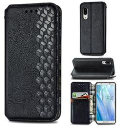 Ultra Slim Fashion Business Card Magnetic Automatic Suction Leather Flip Cover for Sharp AQUOS sense3 Lite SH-RM12 - Black