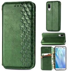 Ultra Slim Fashion Business Card Magnetic Automatic Suction Leather Flip Cover for Sharp AQUOS sense3 Lite SH-RM12 - Green
