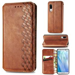 Ultra Slim Fashion Business Card Magnetic Automatic Suction Leather Flip Cover for Sharp AQUOS sense3 Lite SH-RM12 - Brown