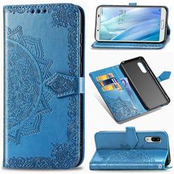 Embossing Imprint Mandala Flower Leather Wallet Case for Sharp AQUOS sense3 Plus SHV46 - Blue
