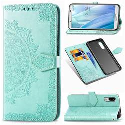 Embossing Imprint Mandala Flower Leather Wallet Case for Sharp AQUOS sense3 Plus SHV46 - Green