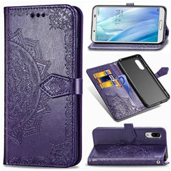 Embossing Imprint Mandala Flower Leather Wallet Case for Sharp AQUOS sense3 Plus SHV46 - Purple