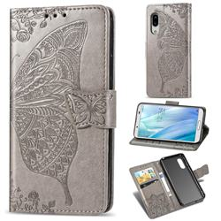 Embossing Mandala Flower Butterfly Leather Wallet Case for Sharp AQUOS sense3 Plus SHV46 - Gray