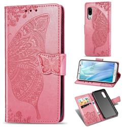 Embossing Mandala Flower Butterfly Leather Wallet Case for Sharp AQUOS sense3 Plus SHV46 - Pink