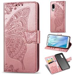 Embossing Mandala Flower Butterfly Leather Wallet Case for Sharp AQUOS sense3 Plus SHV46 - Rose Gold
