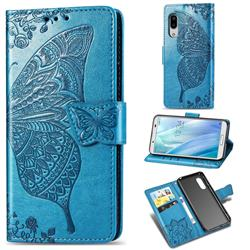 Embossing Mandala Flower Butterfly Leather Wallet Case for Sharp AQUOS sense3 Plus SHV46 - Blue