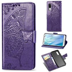 Embossing Mandala Flower Butterfly Leather Wallet Case for Sharp AQUOS sense3 Plus SHV46 - Dark Purple