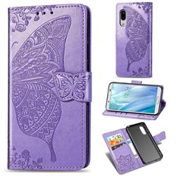 Embossing Mandala Flower Butterfly Leather Wallet Case for Sharp AQUOS sense3 Plus SHV46 - Light Purple