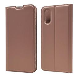 Ultra Slim Card Magnetic Automatic Suction Leather Wallet Case for Sharp AQUOS sense3 Plus SHV46 - Rose Gold