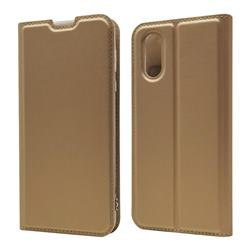 Ultra Slim Card Magnetic Automatic Suction Leather Wallet Case for Sharp AQUOS sense3 Plus SHV46 - Champagne