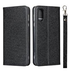Ultra Slim Magnetic Automatic Suction Silk Lanyard Leather Flip Cover for Sharp AQUOS sense3 Plus SHV46 - Black
