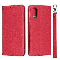 Ultra Slim Magnetic Automatic Suction Silk Lanyard Leather Flip Cover for Sharp AQUOS sense3 Plus SHV46 - Red