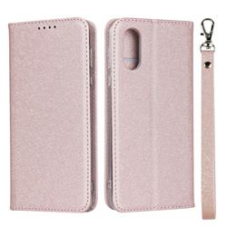 Ultra Slim Magnetic Automatic Suction Silk Lanyard Leather Flip Cover for Sharp AQUOS sense3 Plus SHV46 - Rose Gold