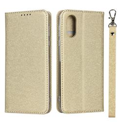 Ultra Slim Magnetic Automatic Suction Silk Lanyard Leather Flip Cover for Sharp AQUOS sense3 Plus SHV46 - Golden