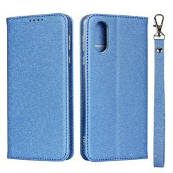 Ultra Slim Magnetic Automatic Suction Silk Lanyard Leather Flip Cover for Sharp AQUOS sense3 Plus SHV46 - Sky Blue