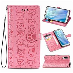Embossing Dog Paw Kitten and Puppy Leather Wallet Case for Sharp AQUOS sense3 Plus SHV46 - Pink