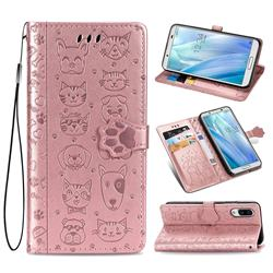 Embossing Dog Paw Kitten and Puppy Leather Wallet Case for Sharp AQUOS sense3 Plus SHV46 - Rose Gold