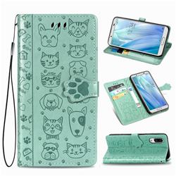 Embossing Dog Paw Kitten and Puppy Leather Wallet Case for Sharp AQUOS sense3 Plus SHV46 - Green