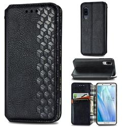 Ultra Slim Fashion Business Card Magnetic Automatic Suction Leather Flip Cover for Sharp AQUOS sense3 Plus SHV46 - Black