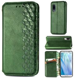 Ultra Slim Fashion Business Card Magnetic Automatic Suction Leather Flip Cover for Sharp AQUOS sense3 Plus SHV46 - Green
