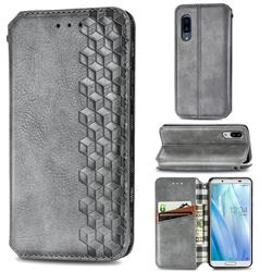 Ultra Slim Fashion Business Card Magnetic Automatic Suction Leather Flip Cover for Sharp AQUOS sense3 Plus SHV46 - Grey