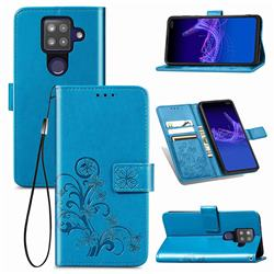 Embossing Imprint Four-Leaf Clover Leather Wallet Case for Sharp AQUOS sense4 Plus - Blue