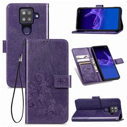 Embossing Imprint Four-Leaf Clover Leather Wallet Case for Sharp AQUOS sense4 Plus - Purple
