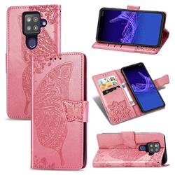 Embossing Mandala Flower Butterfly Leather Wallet Case for Sharp AQUOS sense4 Plus - Pink