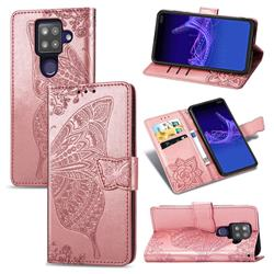 Embossing Mandala Flower Butterfly Leather Wallet Case for Sharp AQUOS sense4 Plus - Rose Gold