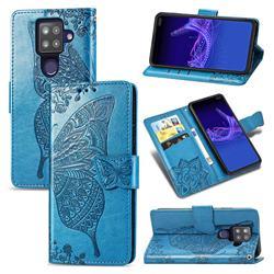 Embossing Mandala Flower Butterfly Leather Wallet Case for Sharp AQUOS sense4 Plus - Blue
