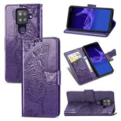 Embossing Mandala Flower Butterfly Leather Wallet Case for Sharp AQUOS sense4 Plus - Dark Purple