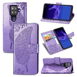 Embossing Mandala Flower Butterfly Leather Wallet Case for Sharp AQUOS sense4 Plus - Light Purple