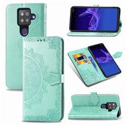 Embossing Imprint Mandala Flower Leather Wallet Case for Sharp AQUOS sense4 Plus - Green