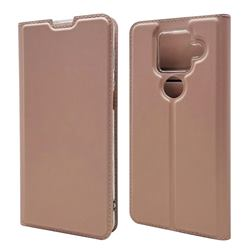Ultra Slim Card Magnetic Automatic Suction Leather Wallet Case for Sharp AQUOS sense4 Plus - Rose Gold