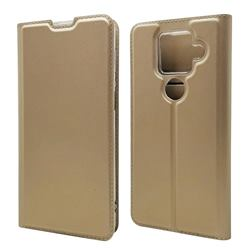Ultra Slim Card Magnetic Automatic Suction Leather Wallet Case for Sharp AQUOS sense4 Plus - Champagne