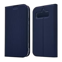 Ultra Slim Card Magnetic Automatic Suction Leather Wallet Case for Softbank AQUOS Simple Sumaho4(AQUOS Simply4) - Royal Blue