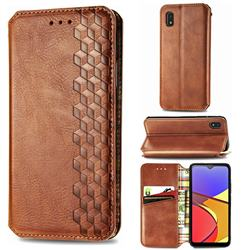 Ultra Slim Fashion Business Card Magnetic Automatic Suction Leather Flip Cover for Docomo Galaxy A21 Japan SC-42A - Brown