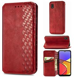 Ultra Slim Fashion Business Card Magnetic Automatic Suction Leather Flip Cover for Docomo Galaxy A21 Japan SC-42A - Red
