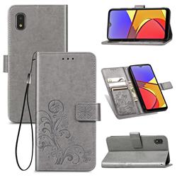 Embossing Imprint Four-Leaf Clover Leather Wallet Case for Docomo Galaxy A21 Japan SC-42A - Grey