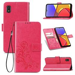 Embossing Imprint Four-Leaf Clover Leather Wallet Case for Docomo Galaxy A21 Japan SC-42A - Rose Red