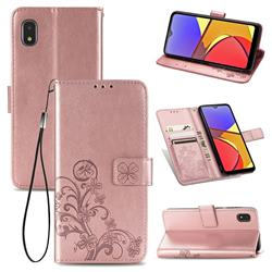 Embossing Imprint Four-Leaf Clover Leather Wallet Case for Docomo Galaxy A21 Japan SC-42A - Rose Gold