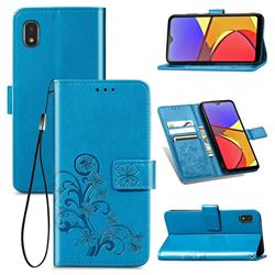 Embossing Imprint Four-Leaf Clover Leather Wallet Case for Docomo Galaxy A21 Japan SC-42A - Blue