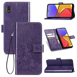 Embossing Imprint Four-Leaf Clover Leather Wallet Case for Docomo Galaxy A21 Japan SC-42A - Purple