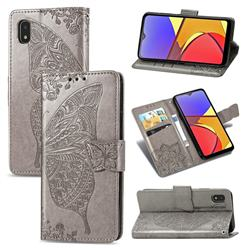 Embossing Mandala Flower Butterfly Leather Wallet Case for Docomo Galaxy A21 Japan SC-42A - Gray